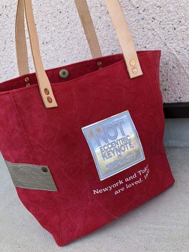 宅急便送料無料☆army duc square tote bag M patch S redの画像1枚目