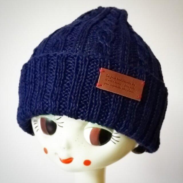 麻(リネン)のサマーニット帽【ネイビー】の画像1枚目