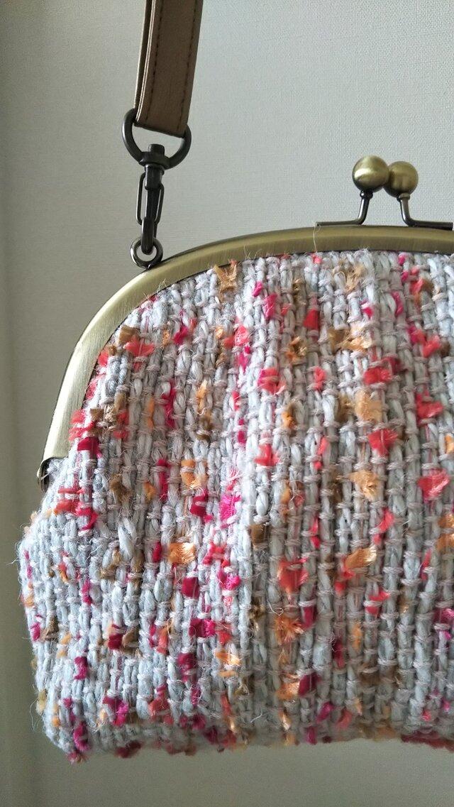 手織りがま口バック(いちごみるく)の画像1枚目
