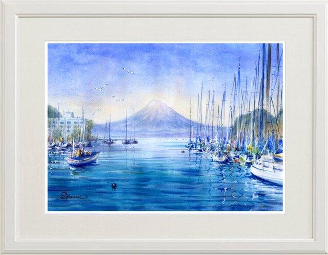 水彩画原画 富士山遠望・諸磯湾から 4の画像1枚目