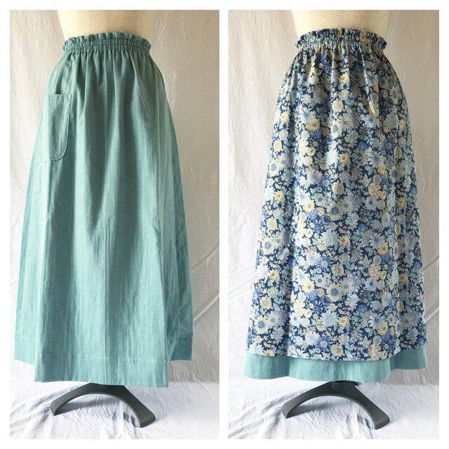 【肌ざわり至上主義】ダブルガーゼのリバーシブルスカート(夏の庭:ブルー)の画像1枚目
