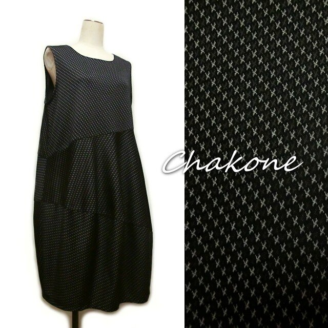 【バルーンワンピース】ゆったりバルーン・ジャンパースカート・ワンピース(M)コクーン モザイク黒の画像1枚目