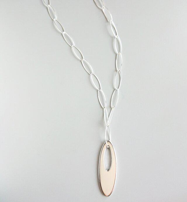 シルバーネックレス-oval plateの画像1枚目