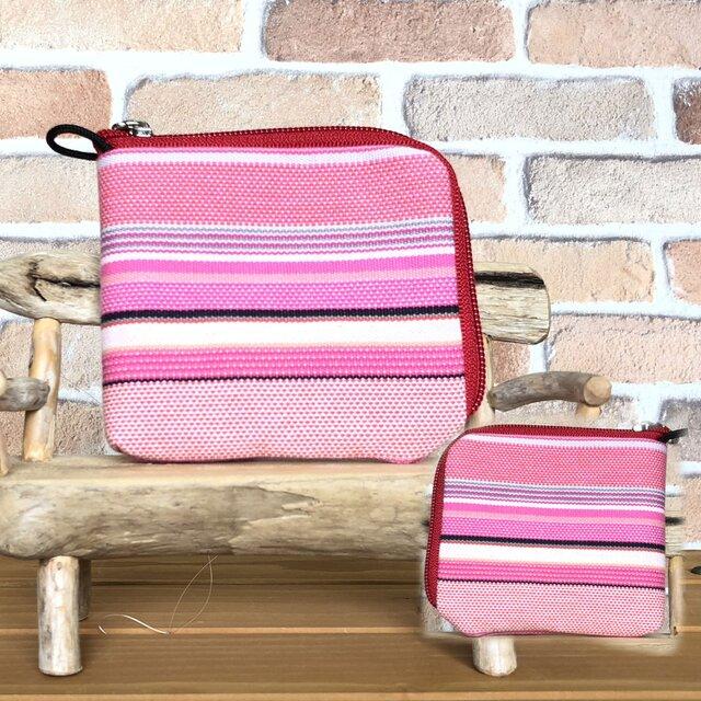 倉敷帆布の薄い財布   ピンク系生地 赤ファスナーの画像1枚目