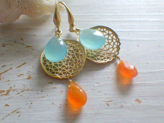 Seafan Sunset Beach Earringsの画像1枚目