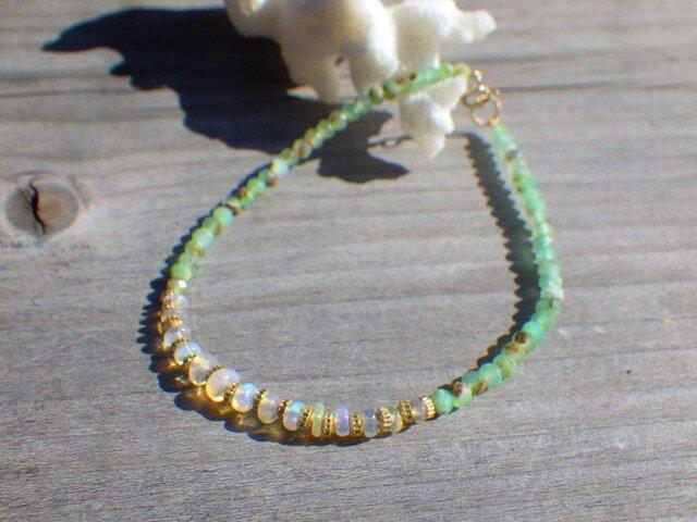 ⭐︎オパール⭐︎Opal& Chrysoprase sea braceletの画像1枚目