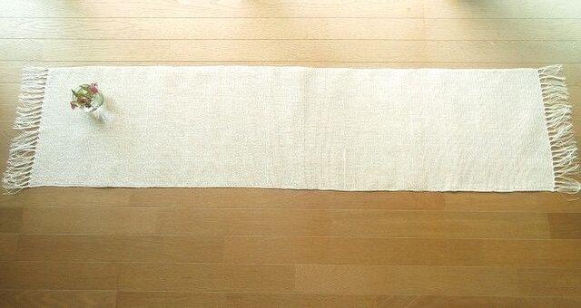 真っ白のリネンの手織りテーブルランナー(3)の画像1枚目