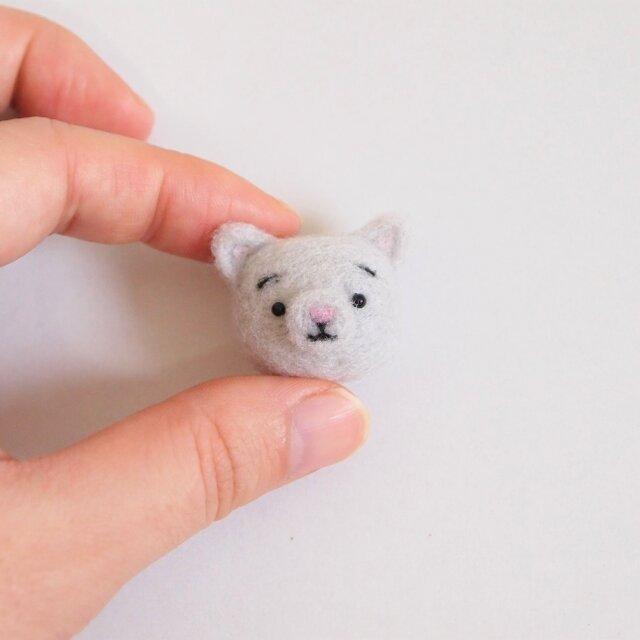 まゆねこ【単色グレー】 携帯クリーナーストラップ 羊毛フェルト(アクレーヌ製)※受注製作の画像1枚目
