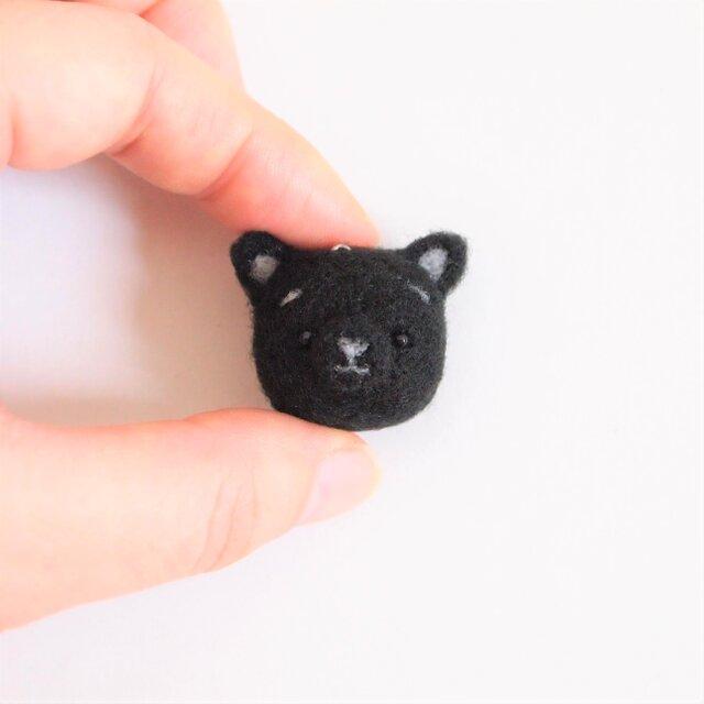 まゆねこ【黒猫】 携帯クリーナーストラップ 羊毛フェルト(アクレーヌ製)※受注製作の画像1枚目