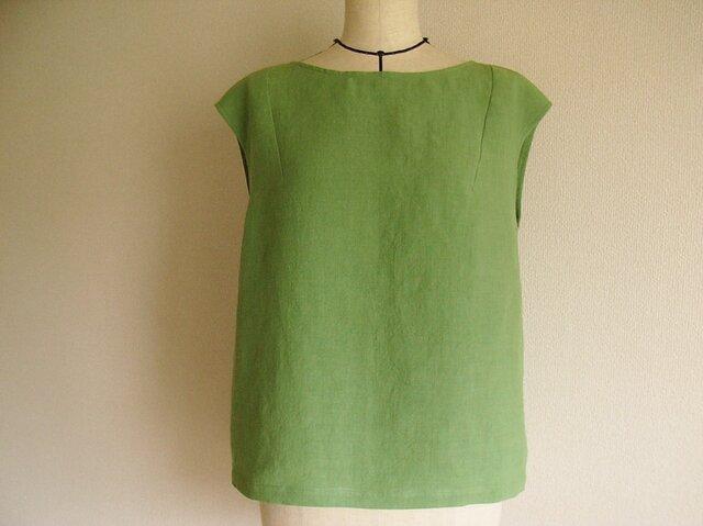 リネンのフレンチスリーブブラウス(緑)の画像1枚目