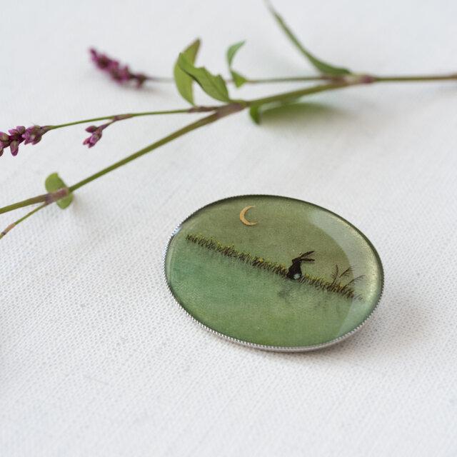 銀ブローチ11/菜の花とうさぎの画像1枚目