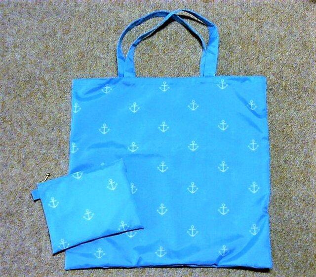 ナイロン素材のバッグ&ポーチセット(空色マリン)の画像1枚目