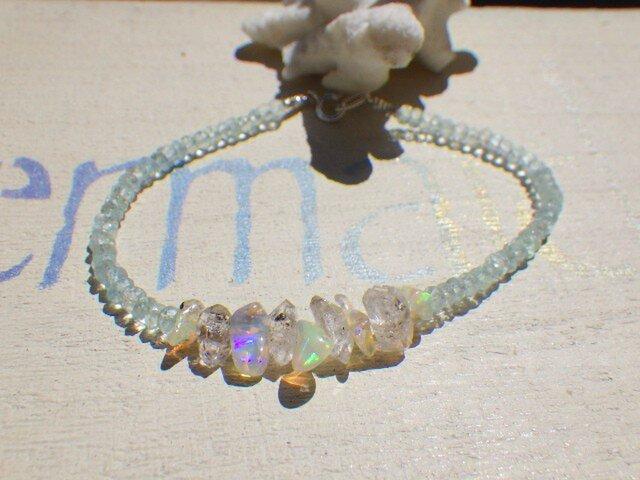 Ice Rock &Opal blue topaz bracelet*sv925*の画像1枚目