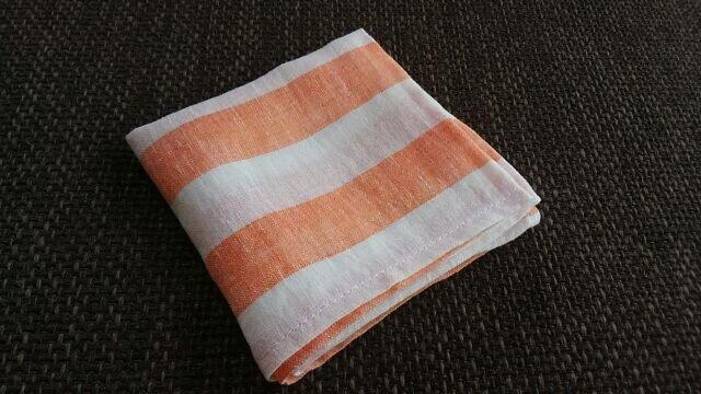 リネンの太っちょボーダーはんかち(白×オレンジ)の画像1枚目