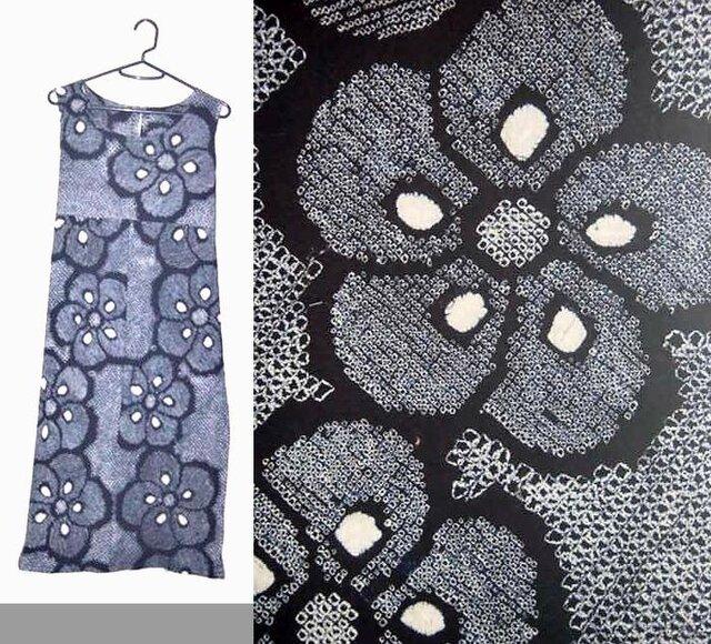 Sold Out浴衣リメイク♪大輪の梅有松総絞りチュニックワンピース♪ハンドメイド♪藍染めの画像1枚目