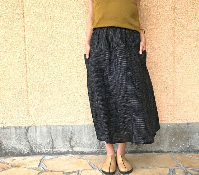 能登上布、きものリメイクスカート、本麻ロングスカート、フリーサイズの画像1枚目