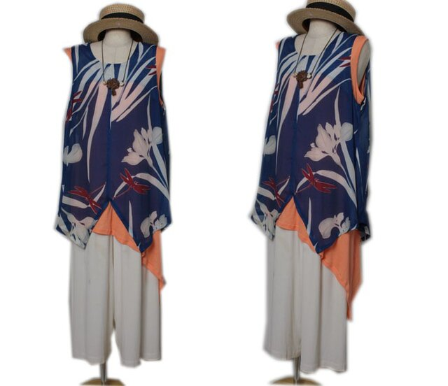 リメイク実用例04:正絹絽の小紋を使った着物リメイクーkimono☆ベストの画像1枚目