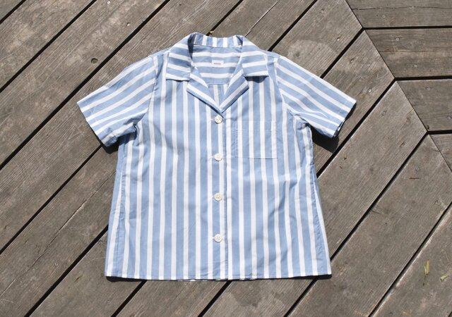 播州織 bansyuori cotton ストライプ リラックス リゾートワイドシャツの画像1枚目