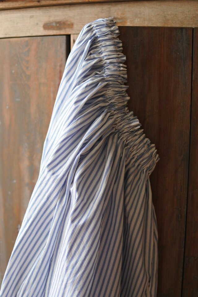 Sale!7800→5800 送料込 綿麻ロングギャザースカート ホワイトストライプの画像1枚目