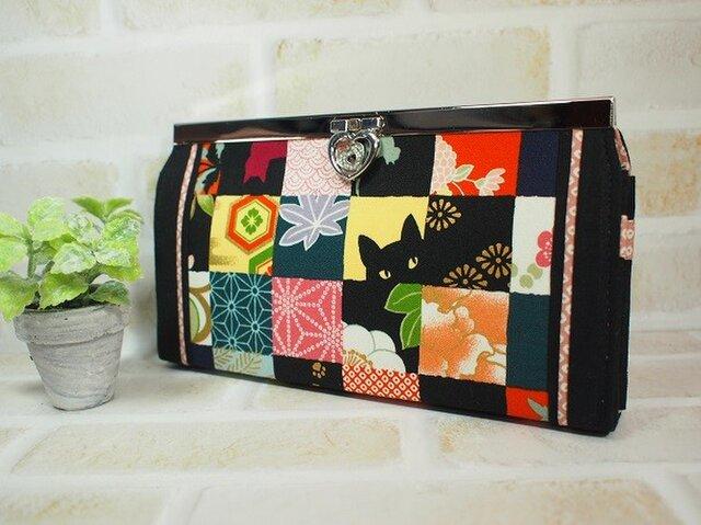 ご依頼品 市松和柄+ちょっと猫の斜めハート口金長財布の画像1枚目