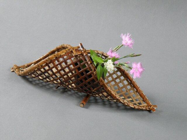 花籠 煤竹 燻煙千島笹 生花の画像1枚目