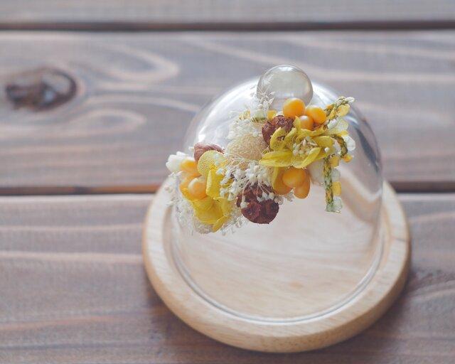【トロッケンクランツ】プチガーランド付きガラスドーム イエロー・Aの画像1枚目