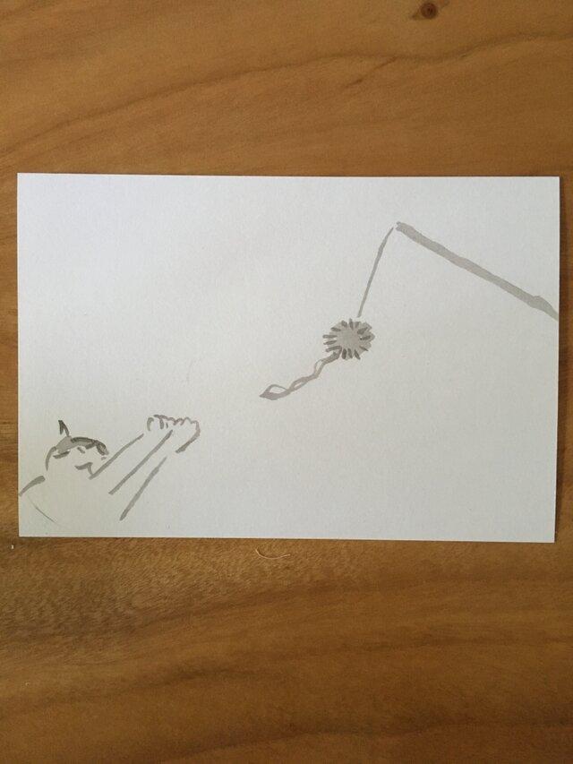 絵葉書/ポストカード <猫・届かないっ>の画像1枚目