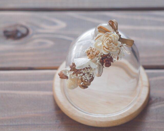 【トロッケンクランツ】プチガーランド付きガラスドーム ナチュラルの画像1枚目
