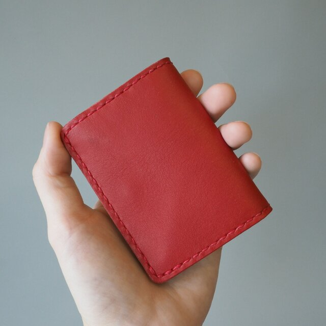 手縫いのボックスコインケース レッド&キャメルの画像1枚目