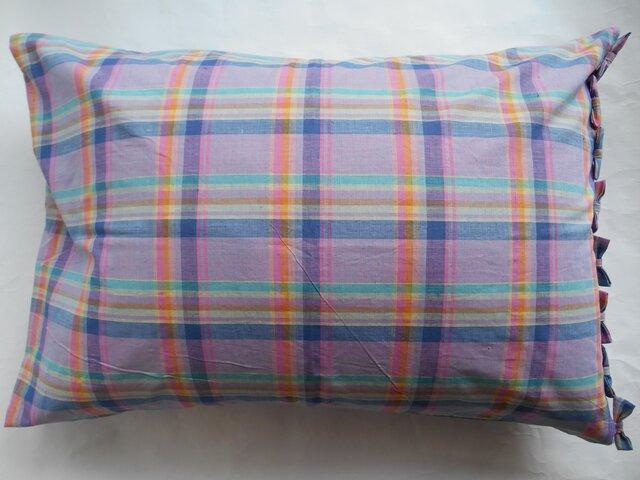 ピンクチェックリボン付きかわいい枕カバーの画像1枚目