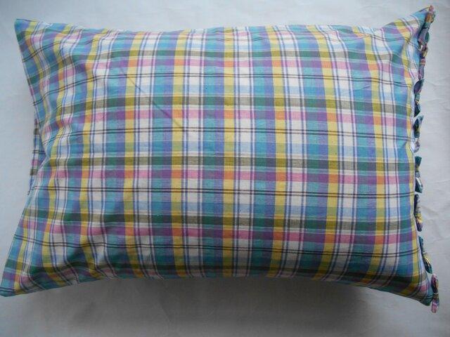 グリーンチェックリボン付きかわいい枕カバーの画像1枚目