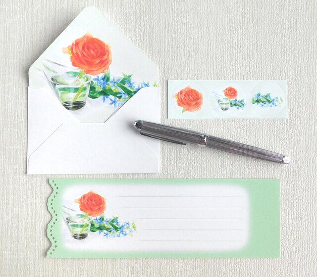 バラとブルースターのミニ封筒&メッセージカード(内模様)の画像1枚目