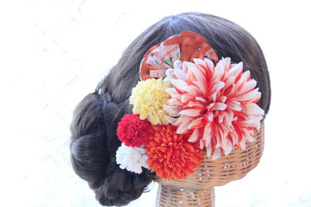 オレンジ系和装髪飾り 扇子型和柄布髪飾り 成人式 卒業式 結婚式の画像1枚目