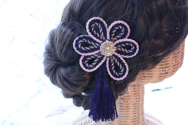 タッセル付き花の組紐飾り 卒業式 結婚式 七五三 浴衣の画像1枚目