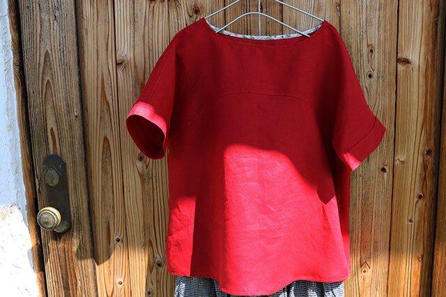 袖ステッチブラウス:赤の画像1枚目