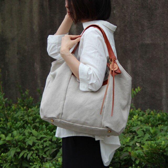 tanton-linen-レッドブラウン(リネン帆布×レザーバッグ)の画像1枚目