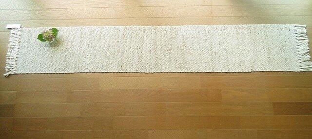 桃の木で染めたきびそ糸(絹)の手織りテーブルランナー(1)の画像1枚目