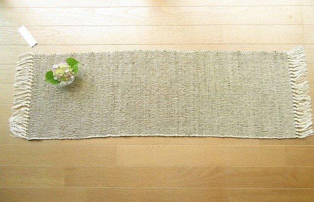 たまねぎの皮で染めたきびそ糸(絹)の手織りテーブルセンター(1)の画像1枚目