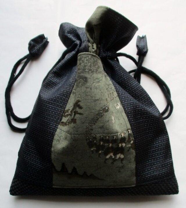送料無料 藍大島紬と長襦袢で作った巾着袋 3672の画像1枚目