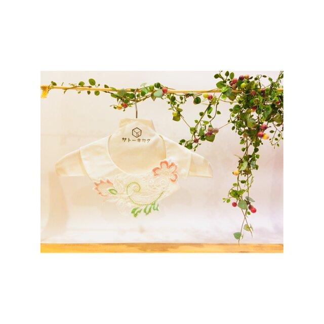 つけ襟☆ シルクシャンタン×刺繍レース(ピンク×グリーン) 【送料無料】の画像1枚目