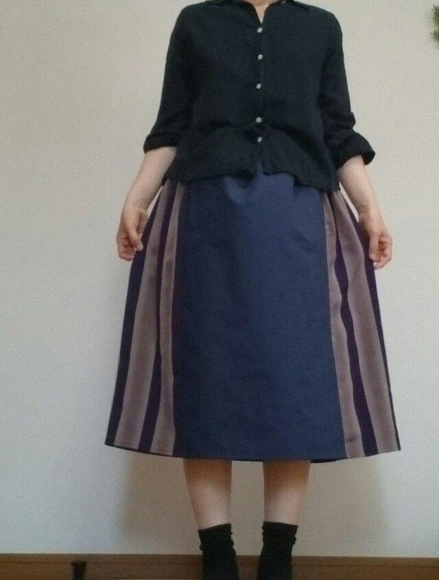 着物リメイクスカート粋な紫ブルーコットンウエストゴムの画像1枚目