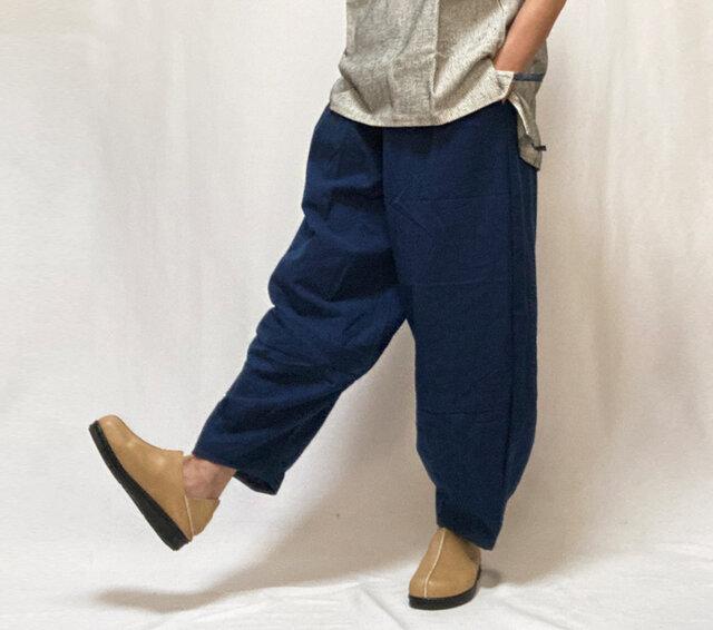 再5!MLサイズ、ジョムトン手織り綿のもんぺパンツ、紺無地、オールシーズンの画像1枚目