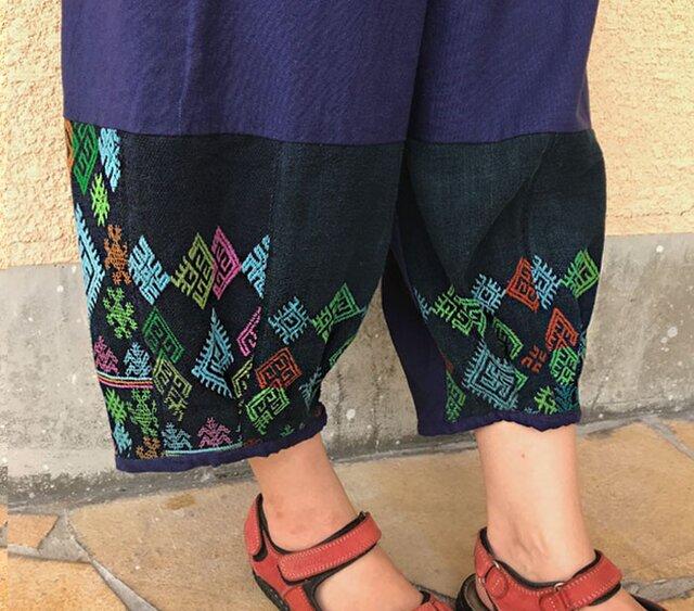 M~LLサイズ、ジョムトン手織り綿のもんぺ、ヤオ刺繍付きパンツ、オールシーズンの画像1枚目