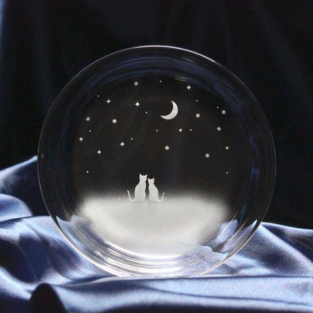 【一緒にみる三日月の夜空】猫モチーフのガラス小皿の画像1枚目