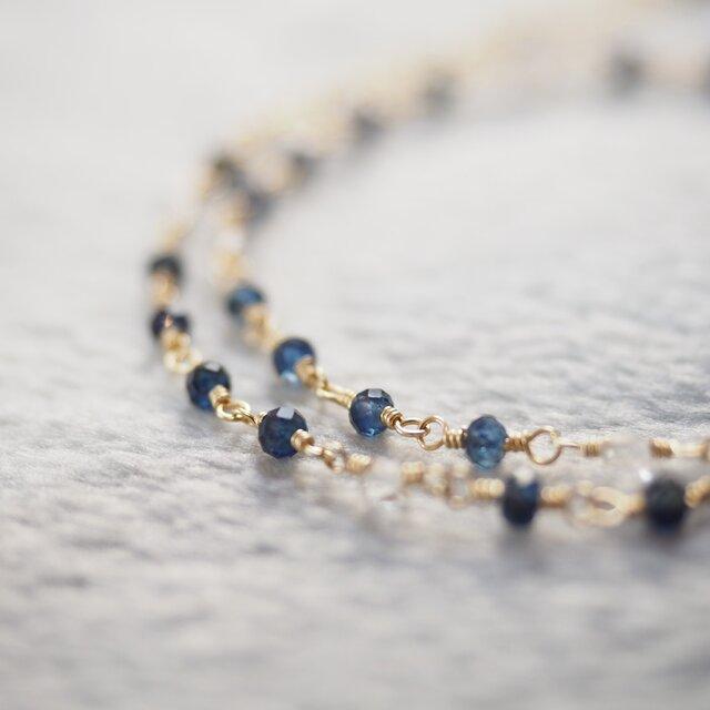 サファイア+ハーキマーダイヤモンド 二連ブレスレットの画像1枚目