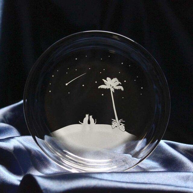 【南の島の流れ星】猫モチーフのガラス小皿の画像1枚目