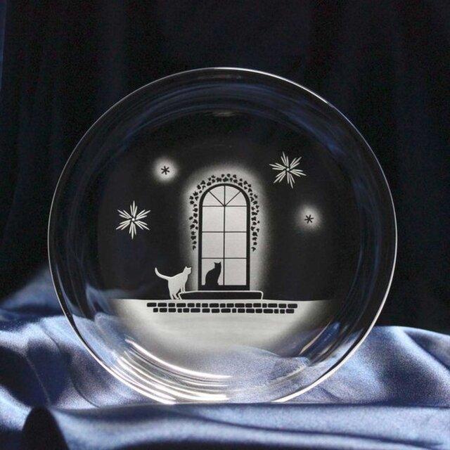 【冬の洋館】猫モチーフのガラス小皿の画像1枚目