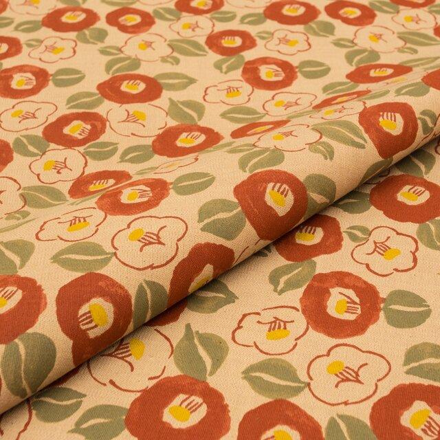 【オリジナル生地・108×50cm】カットクロス 柿渋染 「紅殻 椿」 日本製 綿スラブ織 VY5KS-G05-btの画像1枚目