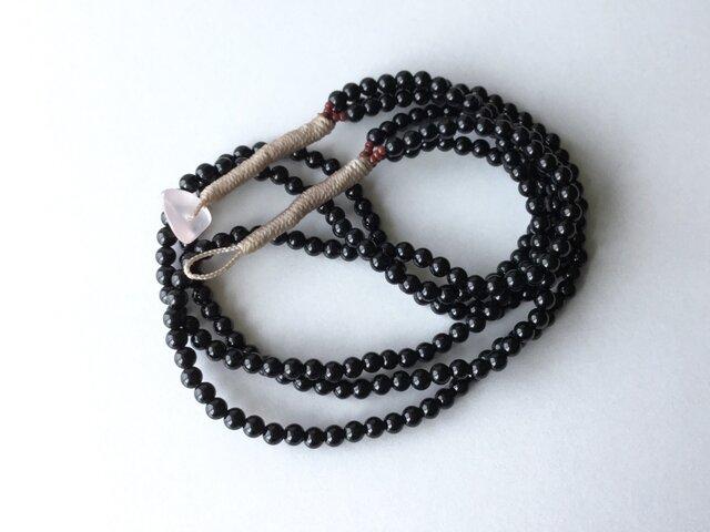 オニキスの3連ネックレス【受注制作】/約43cm, 天然石の画像1枚目