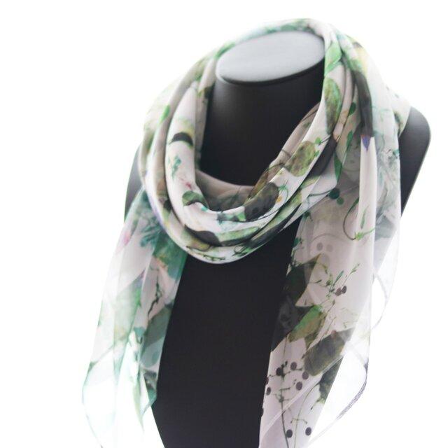シフォンスカーフ【君は早乙女花】グリーンカラー scarfの画像1枚目
